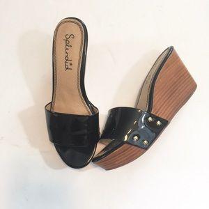 Splendid Greenville Studded Patent Wedge Sandal